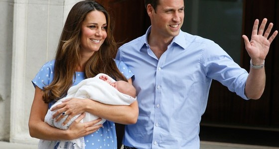 Baby George's first public appearance with mum and dad