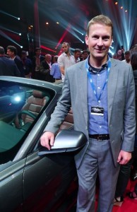 Ford NZ chief Corey Holter with soft-top Mustang at Sydney launch