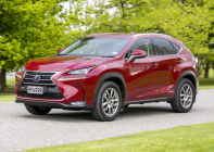 Lexus-NX-300h burgundy front three-quarter on road