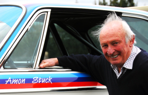Chris Amon at his Taupo home with the 'Batmobile' BMW in which he and Hans Stuck won the 1974 Nurburgring 24-hour race