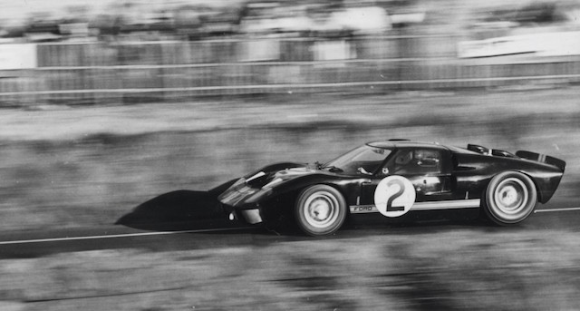 The McLaren/Amon GT40 on the way to winning the 1966 Le Mans race