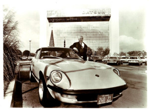 Katayama with the 240Z in a 1970 campaign to promote the car in the US