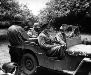 General Dwight Eisenhower in a Jeep after the D-Day landing of 1944