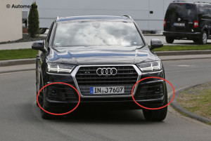 Highlighted: Intercoolers behind the air intakes of the SQ7
