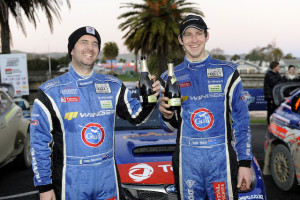 Co-driver Rawstorn (left) and Hunt celebrate the win. PHOTO: Geoff Ridder