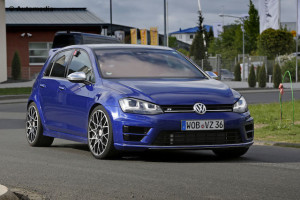 Volkswagen unveiled what it called the Golf R 400 at a motor show in China last year – now it is readying it for production . The most powerful Golf yet is pictured here undergoing final tests at the Nurburgring circuit in Germany. It is called the R 400 because its turbocharged 2.0-litre engine is good for around 400bhp, or 300kW. That's roughly 80kW more than the Golf R delivers. The actual production model could produce even more. VW Group powertrain chief Heinz Jakob-Neusser has hinted that it could deliver around 420bhp, or 313kW, roughly 92kW more than the Golf R. That would make it the most power-dense 2.0-litre production engine on the planet. What Jakob-Neusser hasn't hinted at is what gearbox the Golf R 400 will use to channel all that power to all four wheels. It is almost certain to be a seven-speed DSG unit rated to cope with a maximum 500Nm of torque – the seven-speed 'box in the current Golf R is comfortable with 380Nm.