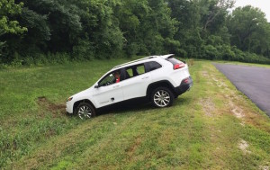 The Jeep Grand Cherokee ended up in a ditch