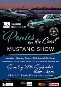 Mustangs on show at Stanmore Bay, Sunday, September 27
