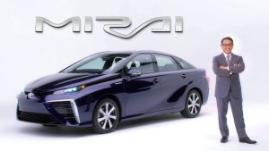 Toyota president Akio Toyoda with the hydrogen-powered Mirai