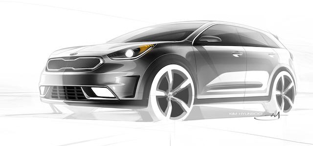 The Kia Niro concept, at top and above