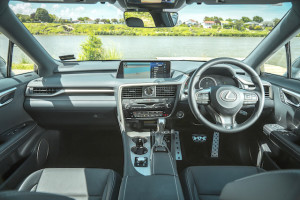 IMAGE - RX 350h F Sport interior dash shot overlooking the water and banks