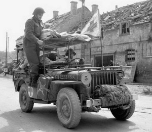 Jeep as an ambulance for war wounded