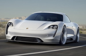Porsche Mission E concept above and at top