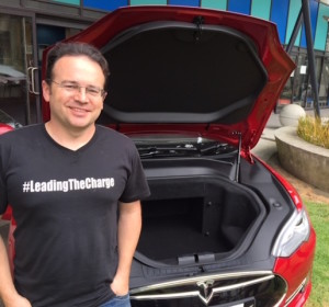 Steve West, North Cape to Bluff in his Tesla Model S.