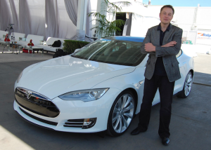 Tesla CEO Elon Musk with the Model S