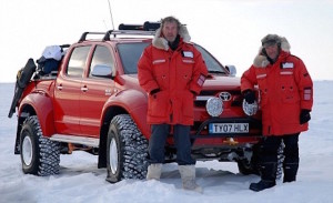 Top Gear's Jeremy Clarkson and James May with the Hilux prepared by Arctic Trucks