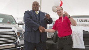 Victor Sheppard gets the keys to his new Tundra