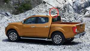 Top-spec Nissan Navara, showing the radio antenna circled in red