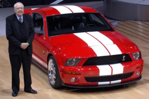 Shelby with the Ford GT at the New York motor show in 2005