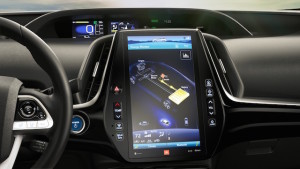 The iPad-like instrument panel in the Prius Prime is similar to that in the Tesla S.