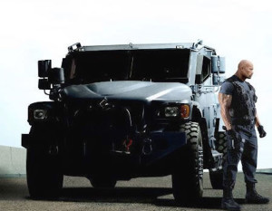 Actor Dwayne Johnson with the truck from Terradyne