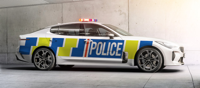 A computer rendition of what the Kia Stinger would look like with police livery