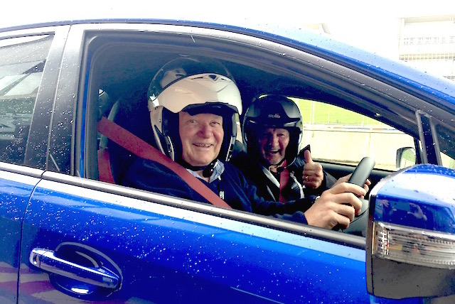 Managing editor Sloane in the WRX STi with his VIP passenger, 'Racing' Ray Williams