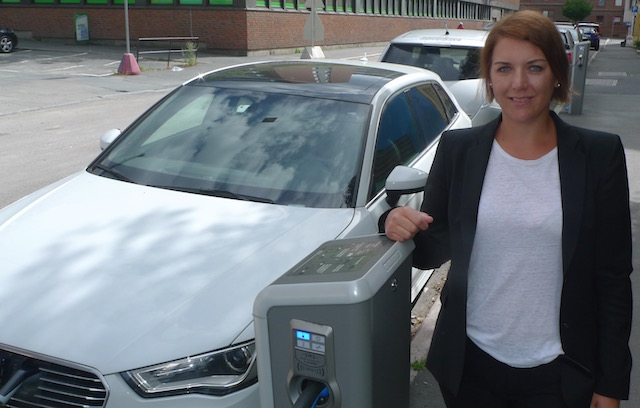 NEVA secretary-general Christina Bu at one of the many charge station near her office in Oslo