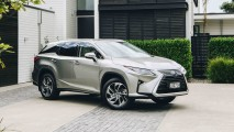 IMAGE- 2018 Lexus RX L, metallic silk, front three quarters copy
