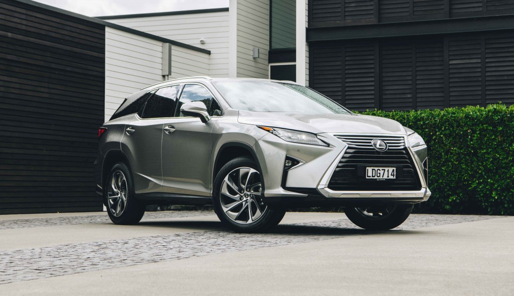 IMAGE- 2018 Lexus RX L, metallic silk, front three quarters,low angle copy