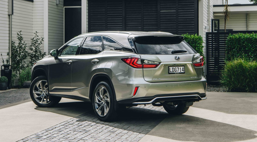 IMAGE- 2018 Lexus RX L, metallic silk, rear three quarters copy