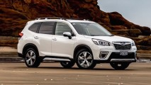 Subaru Hybrid XV and Forester range shot beach 1-2